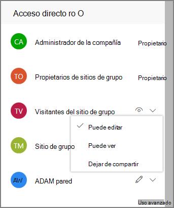 Captura de pantalla de vínculos de acceso directo