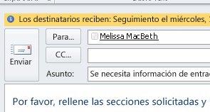 Las marcas y los avisos para destinatarios se muestran en la barra de información del mensaje.