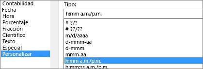 Cuadro de diálogo de formato de celdas, comando personalizado, tipo h:mm