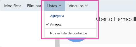 Una captura de pantalla del botón Listas