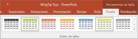 muestra los estilos de tabla en PowerPoint