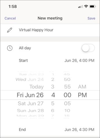Configuración de la reunión-captura de pantalla para móvil