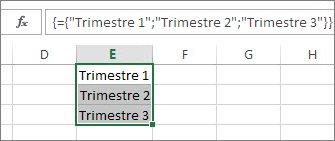 Constante de matriz vertical que usa texto