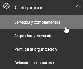 Expanda la configuración y seleccione Servicios y complementos.