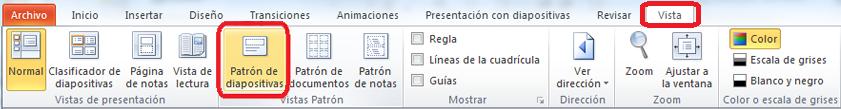 La pestaña Vista en PowerPoint, donde puede cambiar a la vista Patrón de diapositivas