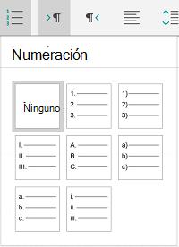 Opciones de numeración