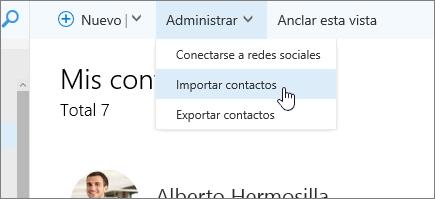 Captura de pantalla de Administrar comando, con la opción de Importar contactos seleccionada.