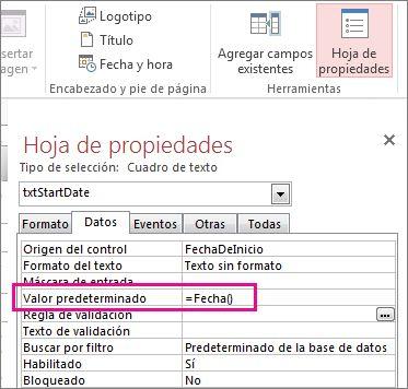 Hoja de propiedades que muestra la propiedad Valor predeterminado configurada en Date().
