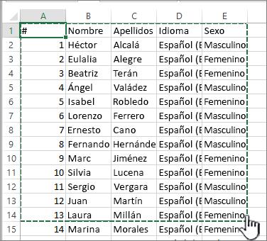 Hoja de cálculo de Excel con un rango resaltado