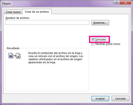 """En la pestaña """"Crear de un archivo"""", seleccione """"Vincular al archivo""""."""