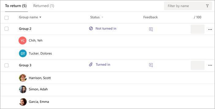 Lista de tareas de grupo para devolver en la vista de calificación de tareas