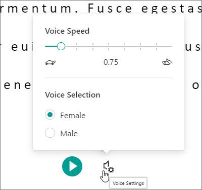 Configuración de voz del Lector inmersivo