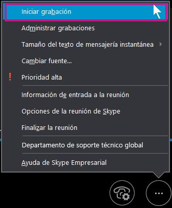 Durante la reunión de Skype Empresarial, haga clic en Iniciar grabación.