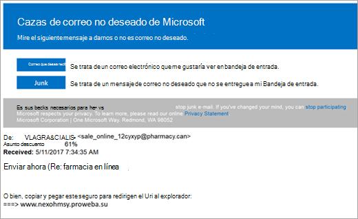 Una captura de pantalla de un correo electrónico de combatientes de correo no deseado