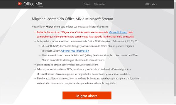 Haga clic en migrar para comenzar a migrar su combinaciones desde el sitio de mezcla de Office a Microsoft Stream.