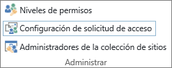 El botón Configuración de solicitud de acceso en la pestaña permisos.
