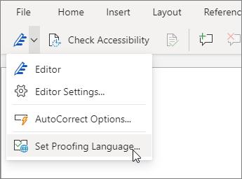 Seleccione el menú desplegable Editor y haga clic en Establecer idioma de corrección.