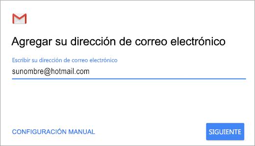 Agregue su dirección de correo