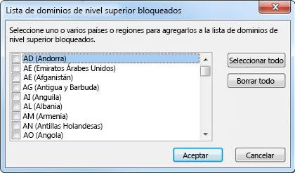 Cuadro de diálogo Lista de dominios de nivel superior bloqueados