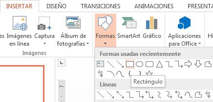 Puede seleccionar una forma, como un rectángulo, en la sección Formas del grupo Ilustraciones.