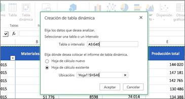 Hoja de cálculo en el fondo y cuadro de diálogo Crear tabla dinámica en primer plano