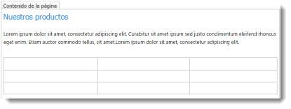 Tabla en sitio web de SharePoint Online