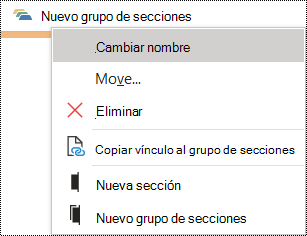 Cuadro de diálogo Cambiar el nombre de un grupo de secciones en OneNote para Windows
