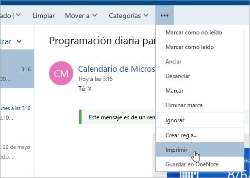 Captura de pantalla del menú Más acciones con el cursor sobre el botón Imprimir