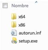 Estructura de carpetas del selector de plataforma para la instalación de Office 2010 de 64 bits.