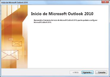 Ventana de inicio de Outlook 2010