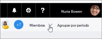 Haga clic en miembros para una lista desplegable y arrastre a un miembro a una tarea