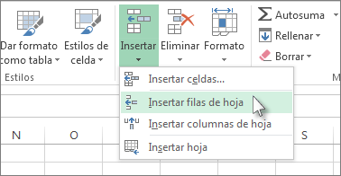 Insertar o eliminar celdas, filas y columnas - Excel