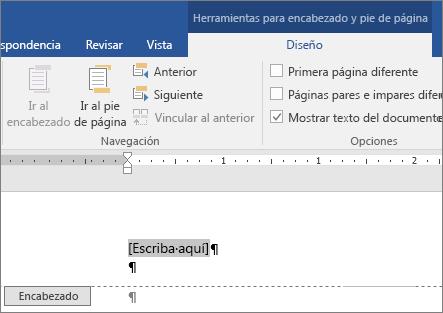Se muestra el área de encabezado o pie de página donde empieza a escribir.