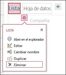 Menú Configuración con Abrir en el explorador, Editar, Cambiar el nombre, Duplicar y Eliminar