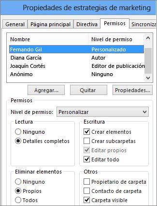 Establecimiento de permisos en una carpeta pública