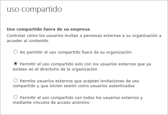 Opciones para compartir con usuarios externos