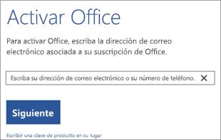 Muestra el cuadro de diálogo Activar donde puede iniciar sesión para activar Office