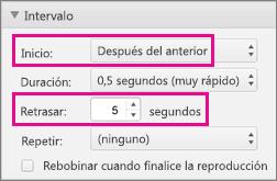 Mostrar viñetas automáticamente estableciendo los intervalos a la opción Después de la anterior y especificando que ha habido un retraso