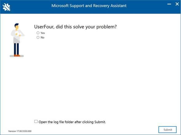 Ventana del Asistente de soporte y recuperación de Microsoft: <Usuario>, ¿solucionó el problema?