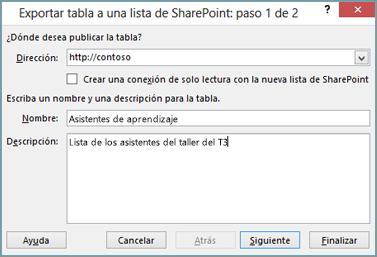 cuadro de diálogo del asistente para exportación a sharepoint