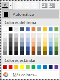 Menú de color de fuente en Excel para escritorio de Windows.