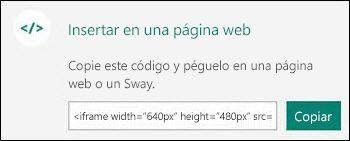El botón Copiar copia el código para insertar que, después, puede pegar en una página web.
