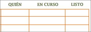 Antigua plantilla de Word de Lista de tareas pendientes con celdas en blanco en filas y columnas.