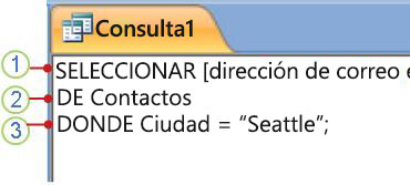 Pestaña del objeto SQL en la que se muestra una instrucción SELECT
