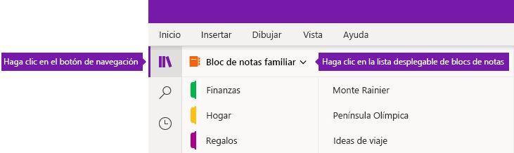 Expandir la lista de blocs de notas en OneNote para Windows 10