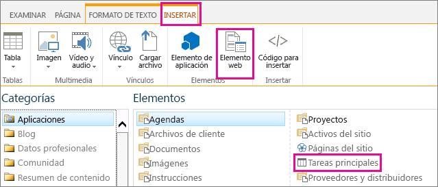 Una captura de pantalla de cómo insertar el elemento web Tareas superiores