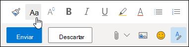 Opción de tamaño de captura de pantalla de fuente en la barra de herramientas Formato.
