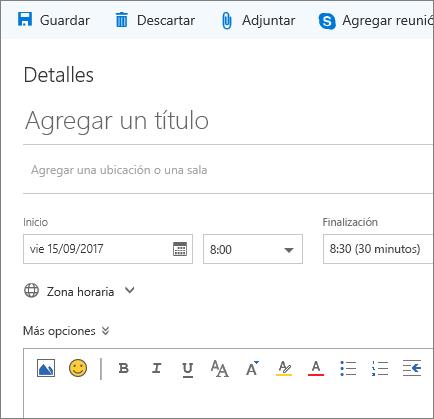 Captura de pantalla del panel de eventos Nuevo calendario
