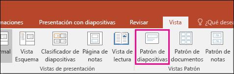 se muestra el botón Patrón de diapositivas en la cinta de PowerPoint