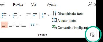 Abra el cuadro de diálogo párrafo haciendo clic en la flecha situada en la esquina inferior derecha del grupo párrafo en la pestaña Inicio de la cinta de opciones.
